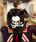 HOT SALE Womens Mens Skull Pattern Hoodie Fur Loose Plus Size Casual Jacket Coat