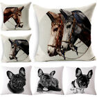 bulldog & horse Cotton Linen Pillow Case Sofa Cushion Cover Fashion Home Decor