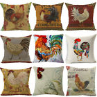 18''Fashion square Cock Style Pillow Case Cotton Linen Sofa Waist Cushion Cover