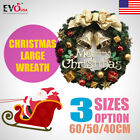 Christmas Large Wreath Door Wall Ornament Garland Decor Gold Bowknot 40/50/60cm