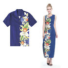 Made Hawaii Couple Matching Luau Maxi Elegant Shirt and Dress Side Orchid Navy