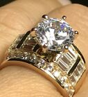 GOLD Ring 14k carat yellow Round Engagement simulated diamond solid  4 5 6 7 8 9