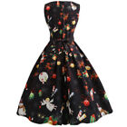 Women Xmas Printed Sleeveless Pin Up Retro Vintage Christma Dress Party Cocktail