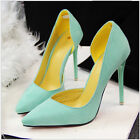 US 7 Green Pointed Toe Pumps High Heels Stilettos Womens Suede Simple Work Shoes