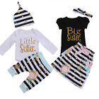 US Stock Family Matching Clothes Big Little Sister T-shirt Romper+ Pants Outfits