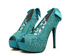 Women's High Heels Lace Bowknot Stilettos Wedding Shoes Platform Pumps Sandals