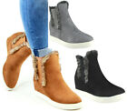 Ladies Fur Lined Hidden Wedge Ankle Boots Womens Chelsea Sneakers Shoes Sizes