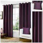 Luxury Faux Silk Aubergine Ready Made Eyelet Ring Top Curtains Fully Lined New
