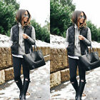 Fashion Women Casual Sleeveless Duster Vest Coat Jacket Cardigan Gilet Waistcoat