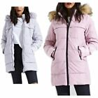 Padded Faux Fur Hooded Longline Puffer Coat Parka Jacket Winter Warm