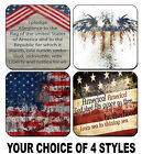 4 DRINK COASTERS - USA 5 America Patriotic Flag United States Pledge Allegiance