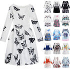 UK Fashion Kids Girls Long Sleeve Printing Belted Skater Party Dress Age5-13Y
