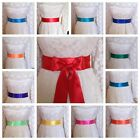 "PLAIN 2"" BRIGHT SATIN SASH FABRIC WRAP BELT SELF TIE BOW PARTY FANCY BRIDE DRESS"