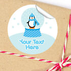 1x A4 Sheet Personalised Christmas gifts presents Stickers Labels Penguin Globe