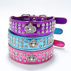 Bling Rhinestone Crystal Diamante Crown Leather Dog Cat Collar Choker Necklace