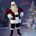 US Xmas Deluxe Santa Claus Costume Adult Suit Christmas Plush Outfit Fancy Dress