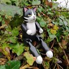 Cat Articulated Wood Carving Jointed Fair Trade Hand Painted Puppet Gift Craft