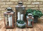 Vintage Copper Hanging Candle Lantern Leaves Tea T light Votive Pillar Floor UK