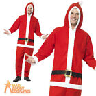 Adult Santa Costume Father Christmas Fancy Dress Outfit Jumpsuit Xmas New
