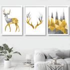 Set of 3 GEOMETRIC  Stag Deer Antler YELLOW Wall Art Picture Print Poster