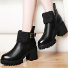 Girls Womens  Chunky Heel Platform  Ankle Boots Shoes  Bootie Buckle