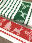 Christmas Xmas Festive Seasonal Tea Towels in Green & Red- 100% Cotton