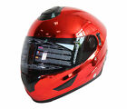 FULL FACE HELMET NK-852 CHROME RED, DOUBLE VISORS, MOTORCYCLE HELMET, SUN SHIELD