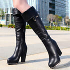 Girls Womens Synthetic Platform Chunky Heel Knee High Boots Wedge Shoes