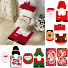 Santa Claus Rug Toilet Seat Cover Bathroom Set Snowman Elk Christmas Decorations