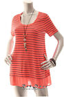 NEW STYLUS  Women Short Sleeve Tunic  Scoop Striped Top Coral Black M
