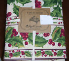 April Cornell Green, Red, Cream Holly Berries Tablecloths, Napkins, Kitchen Sets