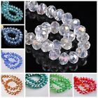 AB Color Flat Faceted Rondelle Glass Crystal Loose Spacer Beads 10mm 32Colors