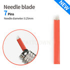 Flexible Microblading Needles Permanent Makeup Manual Eyebrow Blade Red 7-Pin