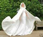 Long Faux Fur White Bridal Hooded Cloak Cape Winter Wedding Dress Wraps Stock /