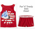 NWT Justice Girls Size 7 Patriotic Flower Flag Tank Top & Mesh Shorts 2-PC SET