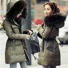 Fashion Womens Down Coat Real Mink Fur Collar Hooded Slim Fit Thick Parka Jacket