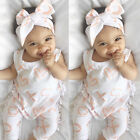 US Toddler Baby Infant Girl Bodysuit Romper Jumpsuit+Headband Clothes Outfit Set