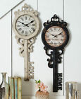 KEY SHAPED WALL CLOCK Love Shabby Antiqued Distress Retro Vintage Country Paris