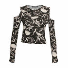 NEW WOMENS PRINTED CUT OUT SHOULDER LONG SLEEVE LADIES JERSEY T SHIRT CROP TOP