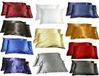 2 x SILK BED PILLOW CASES SLIPS COVERS - YOUR CHOICE OF COLORS