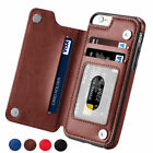 For iPhone X/8/Plus Magnetic Leather Wallet Case Card Slot Shockproof Flip Cover
