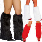 USA Christmas Ladies 3Color Sexy Faux Leg Warmers Rave Fluffies Boot Cover Santa