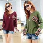 Women Casual O-Neck Long Sleeve Pullover T-Shirt with Pocket NC89
