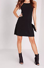 MISSGUIDED square neck slinky swing dress black (M5/23)