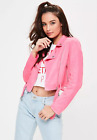 MISSGUIDED petite pink faux suede crop jacket (M21/4)