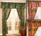 The Woods 5 Piece Window Curtain Set Panels Valance Camo Cabin Lodge