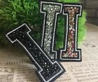 Capital I Alphabet Letter Patch Rhinestones Sequin Embroidered Iron On Applique