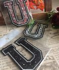 Capital Letter Alphabet U Rhinestones Sequin Embroidered Iron On Patch Applique