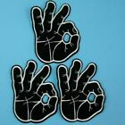 3 Ok Okay Hand Finger Sign Biker Iron on Sew Embroidered Patch Applique Motif