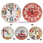 Large Vintage Rustic Silent Number Wall Clock Antique Chic Retro Home Decor